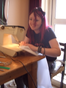 Katrina sewing up a fully lined fitted waistcoat